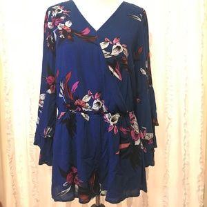 Very J Blue Floral Romper